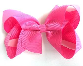 5 inch bright pink hair bow - 5 inch hair bow, bright pink bow, pink hair bow, boutique bows, large hair bows, girls hair bows, toddler bow