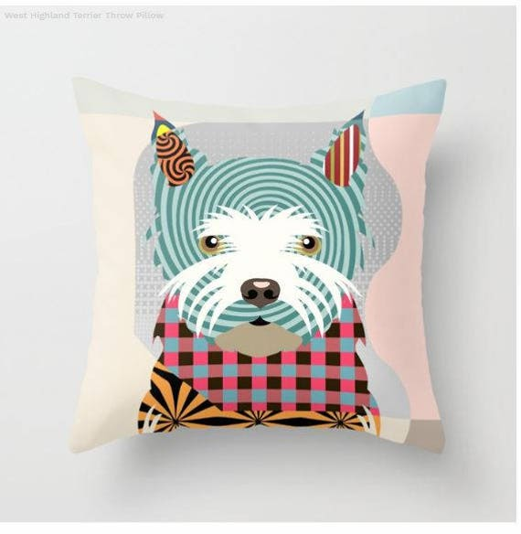 West Highland Terrier Pillow, Westie Gift, Westie Lovers Gifts, Westie Print, Westie Decor, Animal Pillow, Pet Gifts, Pet Pillow