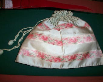 Watered silk antique authentic ribbon work in a sweet bag 1920