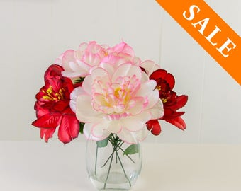 Pink Red Silk Arrangement - Artificial Flowers - Faux Arrangement - Centerpiece - Home Decor