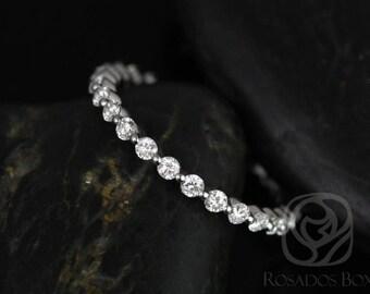 Rosados Box Ready to Ship Petite Naomi/Petite Bubble & Breathe 14kt White Gold Diamonds ALMOST Eternity Band