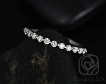 Rosados Box Ready to Ship Petite Naomi/Petite Bubble & Breathe 14kt White Gold Diamond HALFWAY Eternity Band