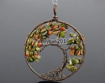 Natural Unakite Gemstone Reiki Chakra Chip Beads Tree of Life Healing Copper Pendant Necklace Jewelry Making