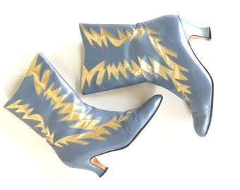 80s Bomb pair of leather boots, blue leather, metallic gold rockabilly boots, size 8