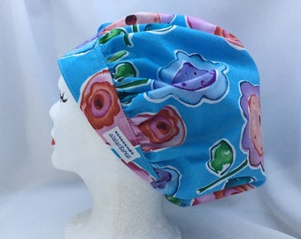 """Scrub Hat Bouffant Style Large Abstract Floral on Blue design """"sweet birdie"""" Kathy Davis"""