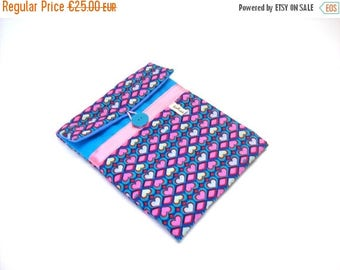 SALE ipad case turquoise canvas and graphic hearts fabric 8 inches tab sleeve in padded fabric