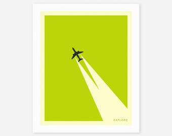 EXPLORE (Giclée Fine Art Print/Photo Print/Poster Print) Minimal Travel Poster