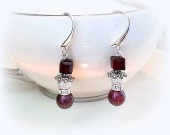 dark red burgundy snowman earrings white Swarovski crystal pearl earrings hypoallergenic earrings nickel free earring winter snowmen jewelry