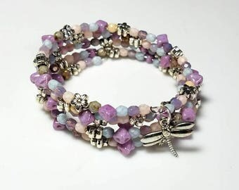 multicolor chunky beaded cuff bracelet dragonfly charm silver bracelet adjustable stacking memory wire bracelet feminine colorful jewelry