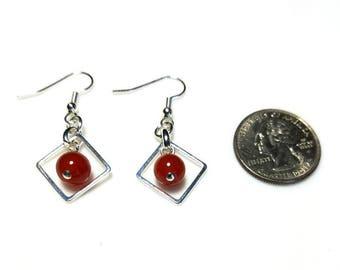 orange red carnelian gemstone silver drop earrings hypoallergenic earrings nickel free earrings beaded dangle jewelry casual stone earrings