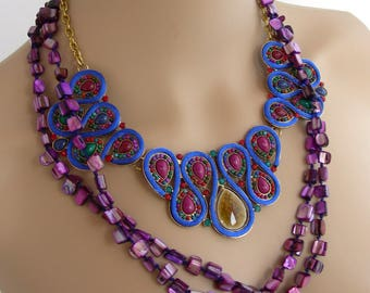 Bib necklace and Necklace / blue/Indigo-purple - ceramic beads, mother of Pearl