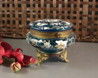 Czech Bohemian Biedermeir Enameled Blue Glass Dose / Dresser Trinket Jewelry Box
