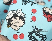 Cartoon Betty Boop Cotton Fabric On Black Blue For Girls Dress Quilting Craft- 1/2 yard