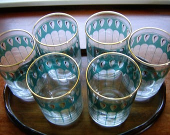 Vintage Libbey glassware 6 pc set green and gold on clear glass 12 oz drinkware retro chic