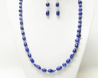 Sapphire Freshwater Rice Pearl w/Crystal Spacer Bead Necklace & Earrings Set