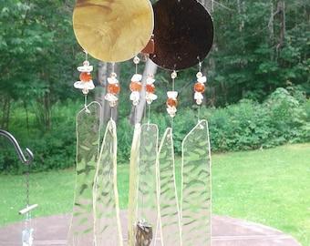 Amber Brown Glass Windchime Jade Dragon Garden Decor Stained Glass Window Suncatcher Mobile