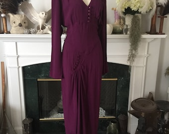 Deep Plum 80s does 40s Rayon Dress