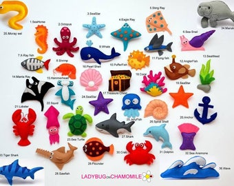 SEA and OCEAN CREATURES felt magnets or ornaments - Price per 1 item - make your own set - Octopus,Shark,Ray,Crab,Pearl,Dolphin,Whale
