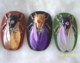 Czech Glass Buttons (3 PCS) Hand Painted SCARAB Cicada 40mm IVA 009
