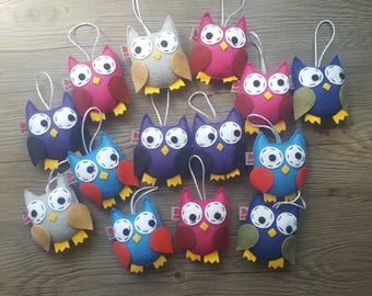 8 Owl Ornaments, Woodland Gift, Baby Decoration, Party Favor, Birthday Ideas, Baby Shower Birds, Eco Friendly, Set of 8, MADE TO ORDER