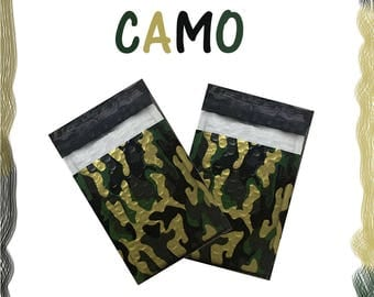"50 Pack 4x8""  Camouflage Design Poly Bubble Mailers Self-Seal Business Envelopes Standard Mailer Bags Size #0 Protective Shipping Mailers"
