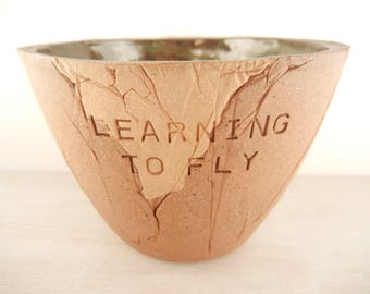 Tom Petty - Learning to Fly - Pottery Bowl / Song Lyric Pottery / Lyric Pottery / Music Lyric Pottery / Song Lyric Art / Inspiration Art