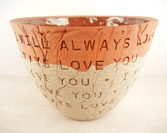 Dolly Parton - Whitney Houston - I Will Always Love You - Pottery Bowl / Song Lyric Pottery / Music Art / Wedding Gift / Anniversary Gift