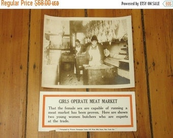 """ON SALE antique 1910's woman butchers """"operate meat market"""" large photo & caption from western newspaper union, nyc"""