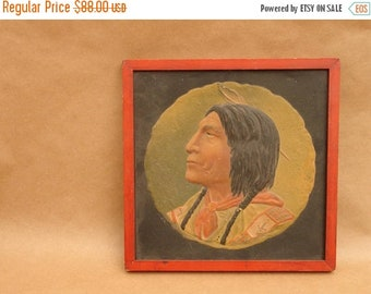 ON SALE antique 1902 embossed relief print of Native American Indian by O.Fritsch, manf. by woodward & tiernan
