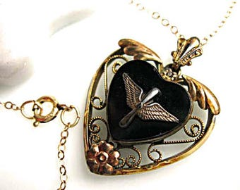 Onyx Heart Pendant, Air Force Wings, Goldfilled Open Heart Frame, Military Service Sweetheart Pendant, 14k Goldfilled Chain