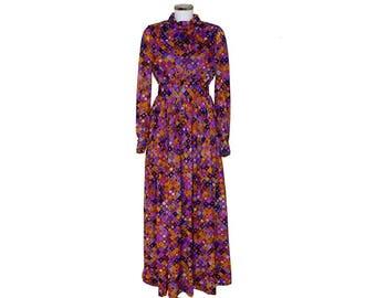 1970s Psychedelic Chiffon Maxi Dress by Kitty Copeland