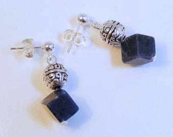 Sodalite Cube Silver Post Earrings