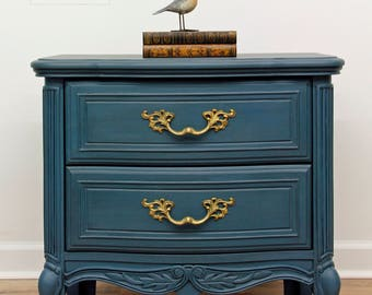 SOLD Hand Painted, Vintage French Provincial Nightstand, Shabby Chic Night Stand