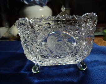 Octagonal shape lead glass footed bowl