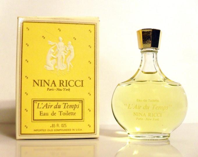 Vintage 1970s L'Air du Temps by Nina Ricci 0.85 oz Eau de Toilette Splash and Box Lalique Bottle PERFUME