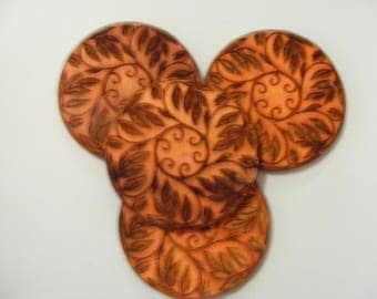 Laser engraved Leaves & Vines Round Coasters 10cm set of 4