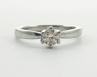 Vintage 14k White Gold Diamond Solitaire Engagement Ring
