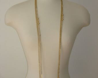 Vintage Long Chain Gold Necklace - Multi Chain - Flapper Jewelry 1970s - 54 inches