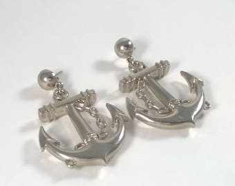 Vintage Large Silver Anchor Dangle Earrings  - Retro Fashion Jewelry Oversized- 1980s
