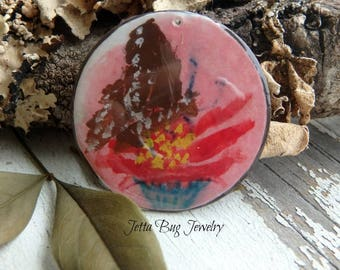 Speckled Butterfly- art resin brown butterfly original painting. red coneflower. rustic woodland pendant. nature boho bead. Jettabugjewelry