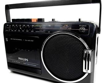 Philips D7180 Vintage Portable Retro Radio Cassette Recorder Player Boombox