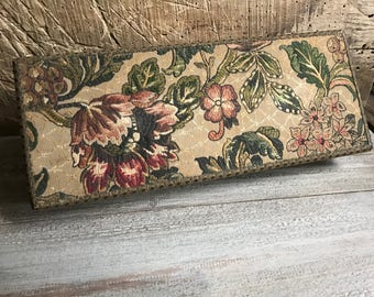 French Floral Fabric Boudoir Box, Jewelry Box, Tapestry, Sewing Box