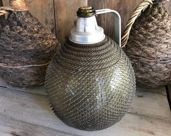 French Demijohn Wine Bottle, Large Mesh Metal Covered, Industrial Bar Decor, Vérac la Bridoire