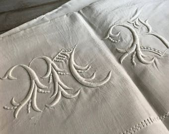 1800s French Heirloom Linen Sheet, Unused, Hand Embroidered Monogram, Queen Size