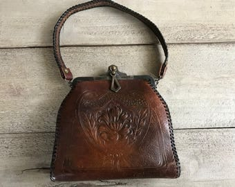 Arts and Crafts Embossed Leather Handbag, Floral Design, Art Deco, Early 1900s