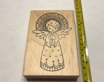 LARGE singing Angel rubber stamp, 60 x 100 mm (BB4/6)