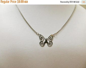 ON SALE Vintage Openwork Butterfly Necklace Item K # 2559
