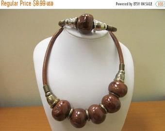 ON SALE Vintage 2pc Large Brown Beaded Choker and Bracelet Set Item K # 1415