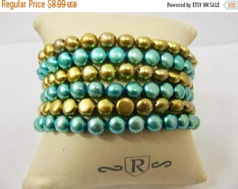 On Sale Set of 6 Teal and Olive Colored Fresh Water Pearl Bracelets Item K # 2610