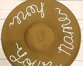 ON SALE Brown Custom Sun Hat/Wide Brim Hat/ Beach Hat/ Floppy Hat/Personalized Sun Hat/ Vacation Hat/ Bachelorette Party Hat/ Wifey Hat